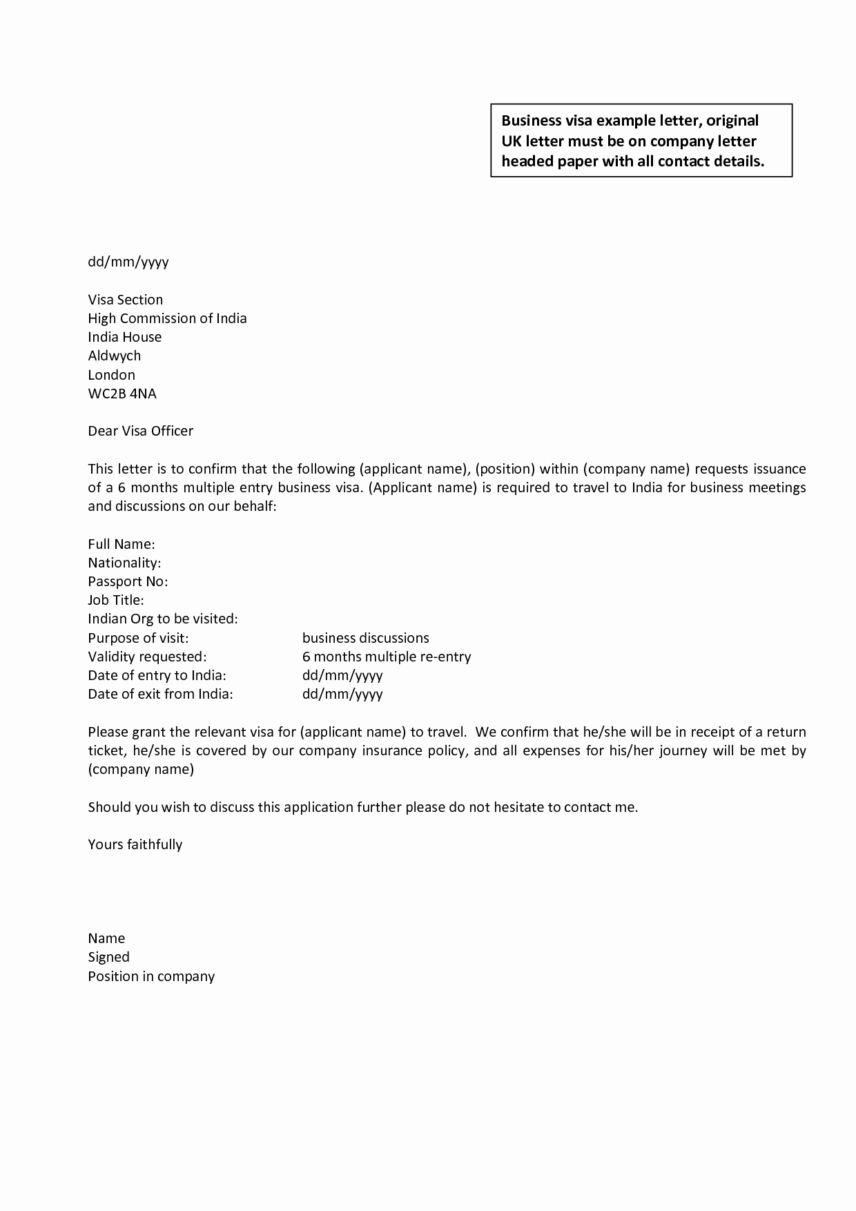 Business Letter Template Uk