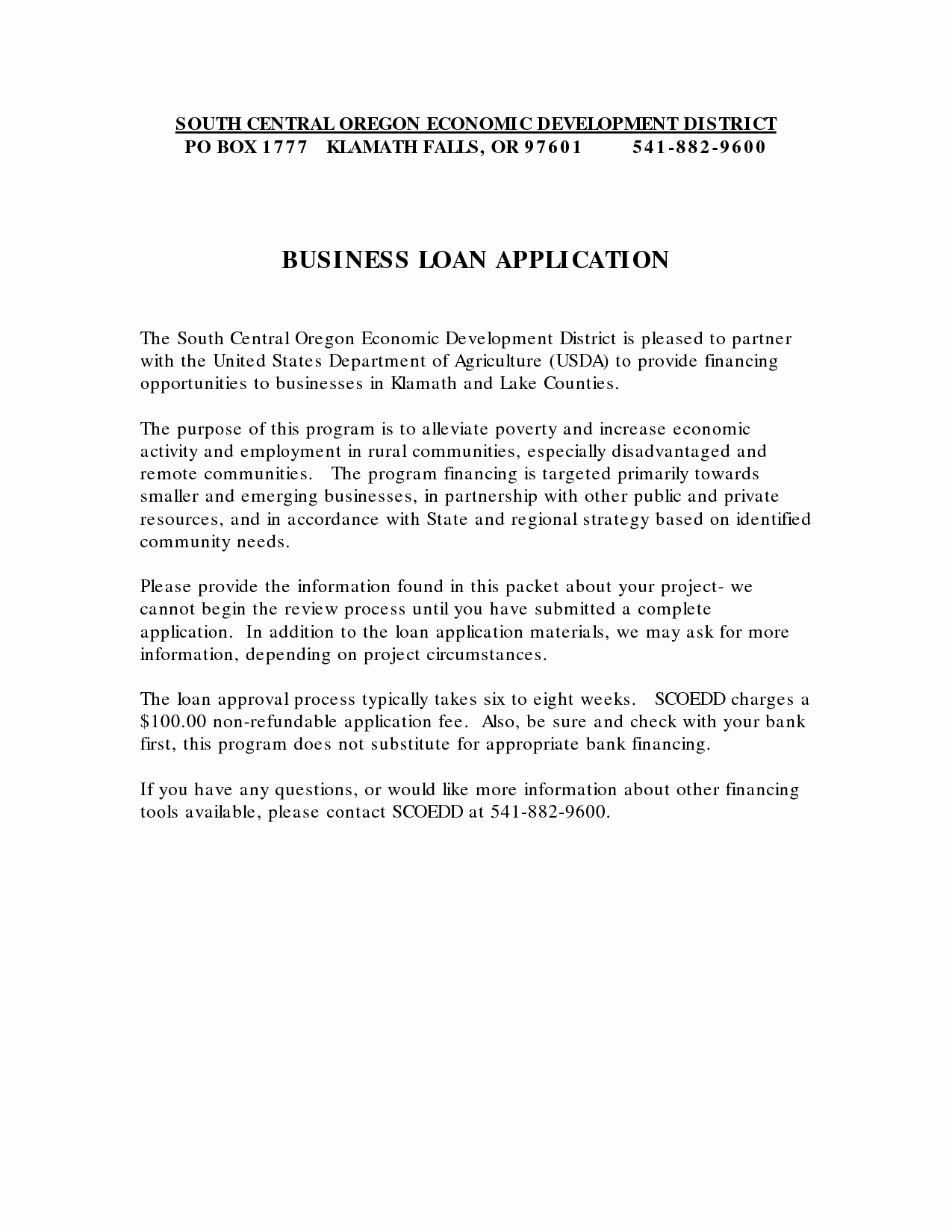 Business Loan Application Cover Letter Sample