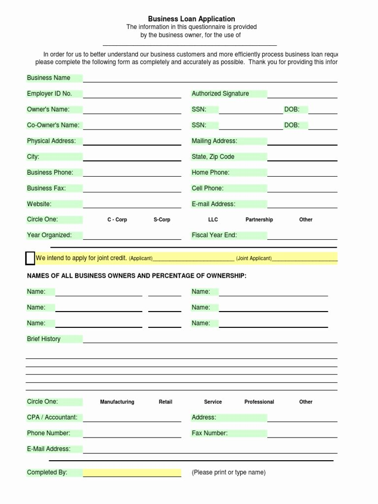 Business Loan Application Template Doc