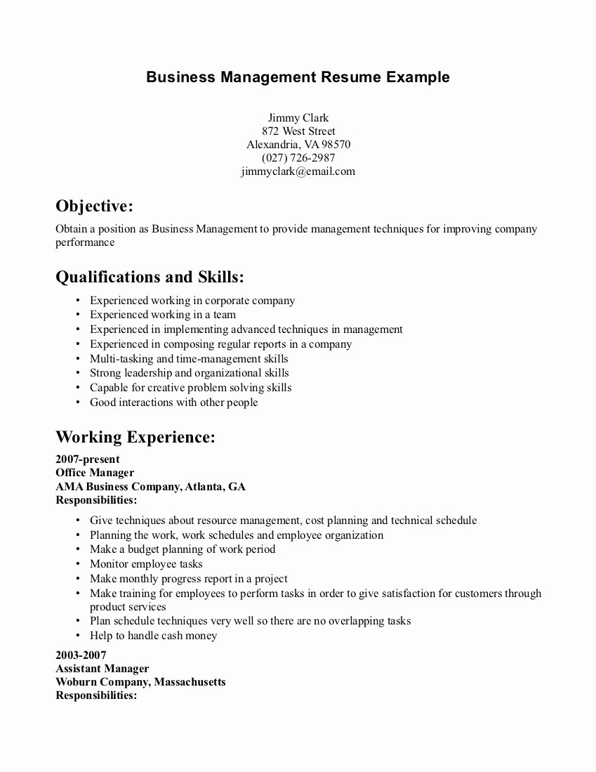 Business Management Resume Samples