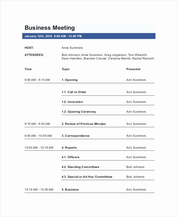 Business Meeting Agenda Template – 10 Free Word Pdf