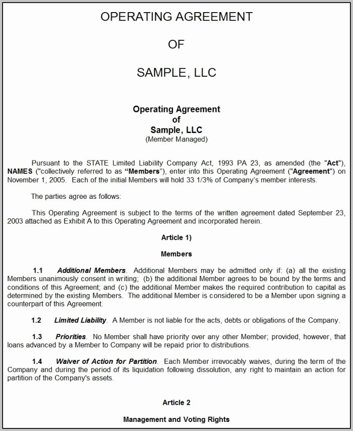 Business Operating Agreement Template Free Template