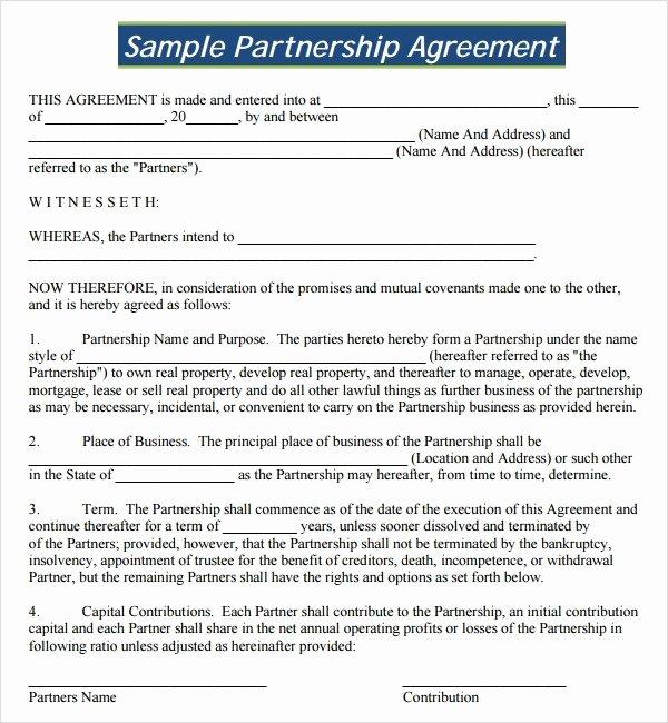Business Partnership Agreement Template Free Download 2016
