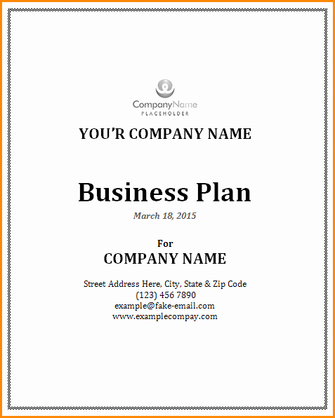 Business Plan Cover Page Template – Business form Templates