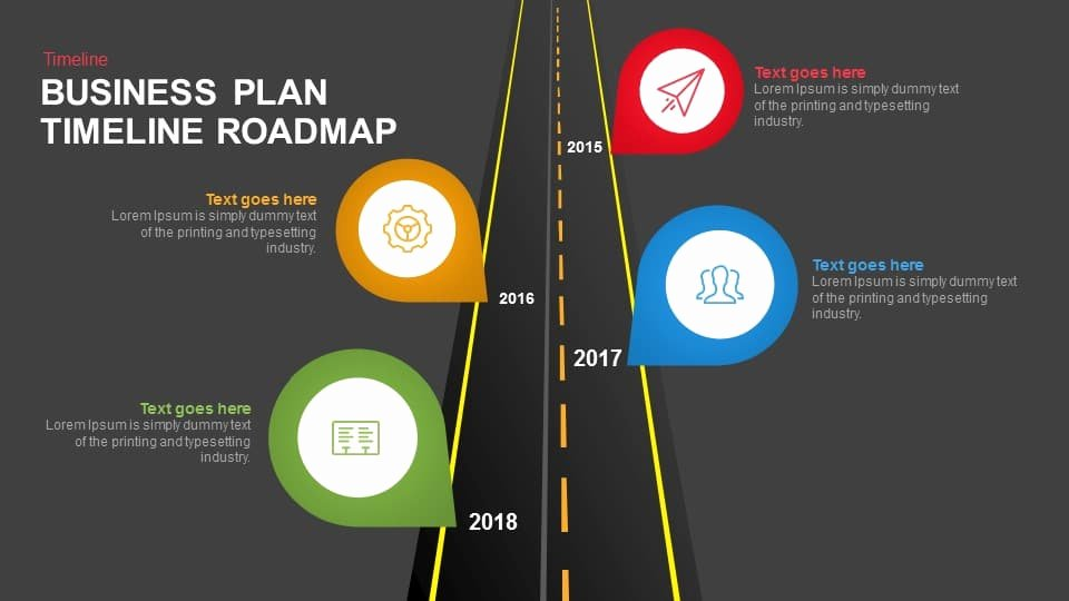 Business Plan Timeline Roadmap Template for Powerpoint and