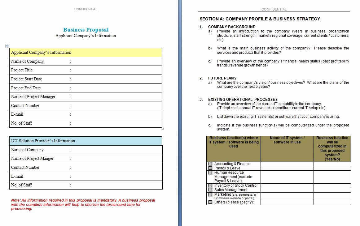 Business Proposal Template Excel Xlts