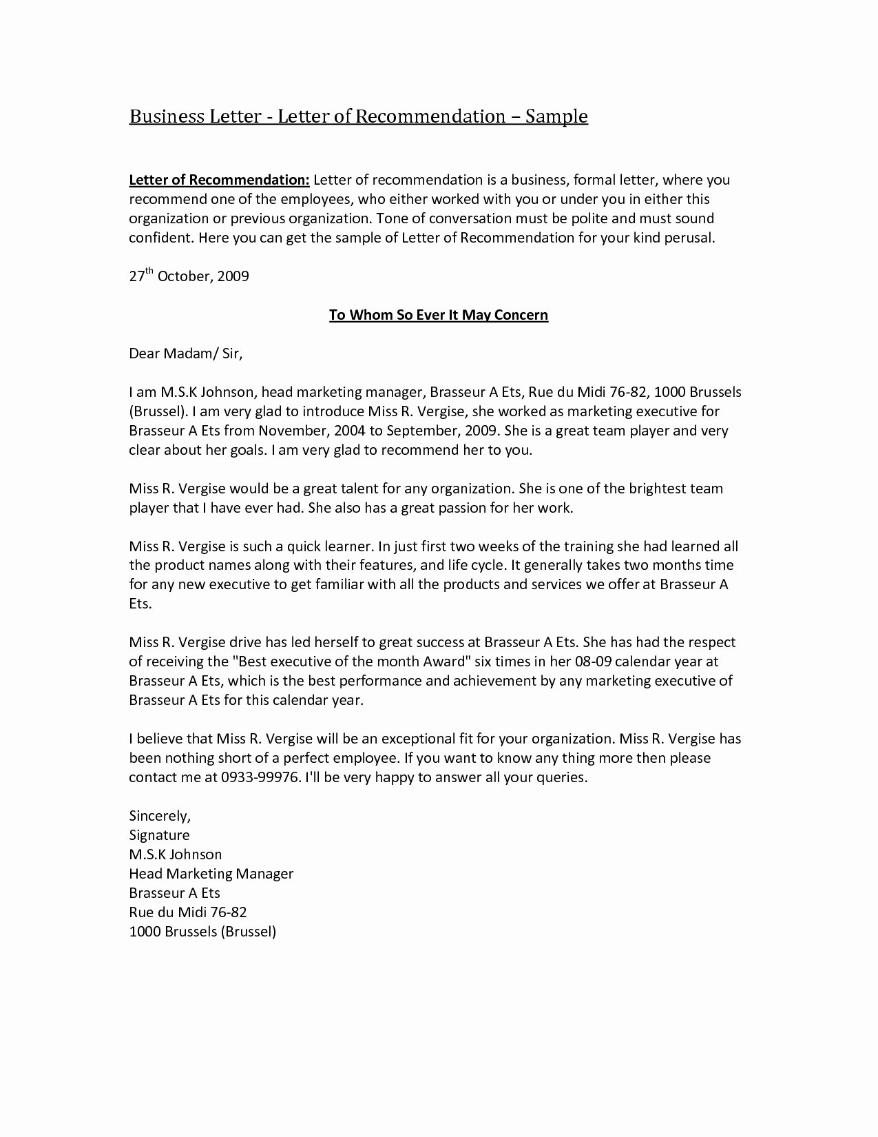 Business Referral Letter Template