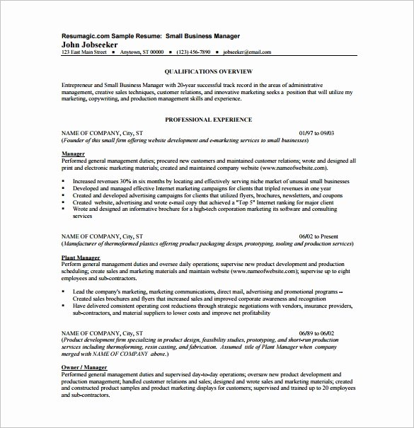 Business Resume Template – 11 Free Word Excel Pdf