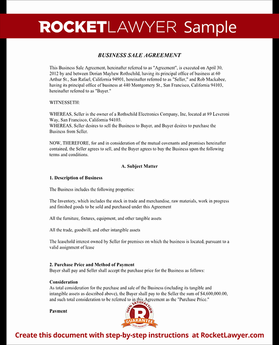 Business Sale Agreement Contract form with Template & Sample