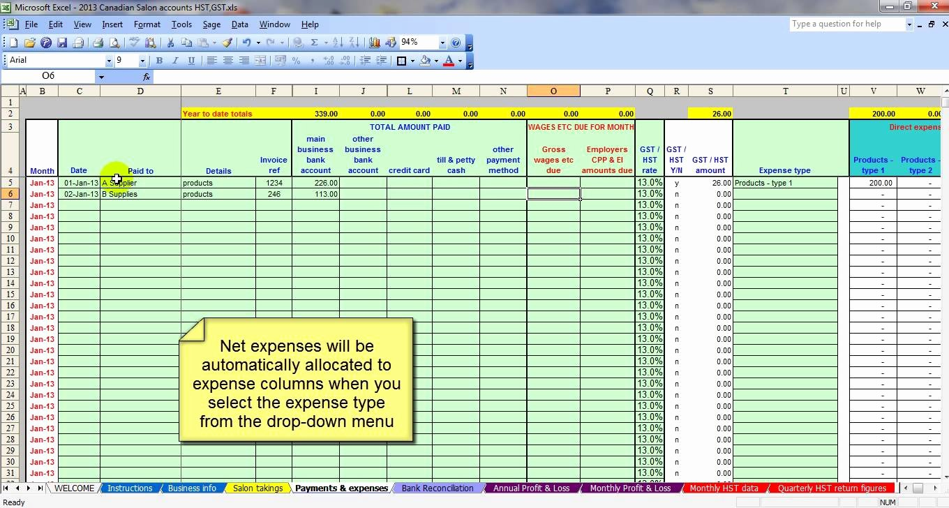 Business Spreadsheet Expenses and In E Accounting