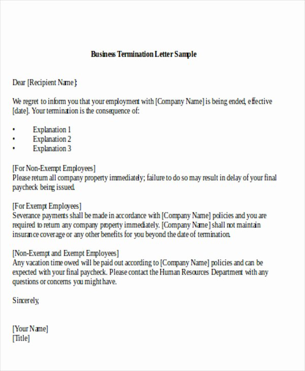 Business Termination Letter Template Samples for Your