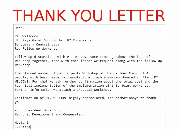 Business Thank You Template Letters