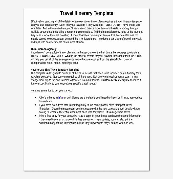 Business Travel Itinerary Template 23 Word Excel & Pdf