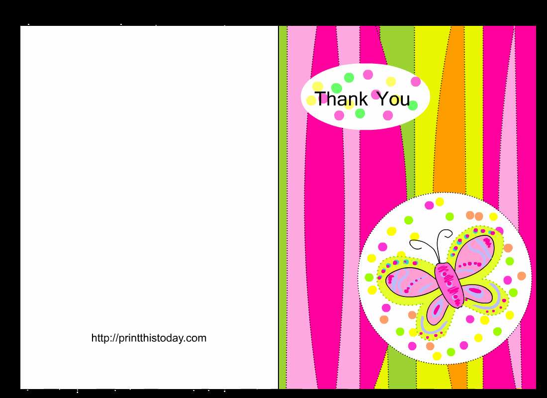 Butterfly Baby Shower Thank You Cards Free Printable