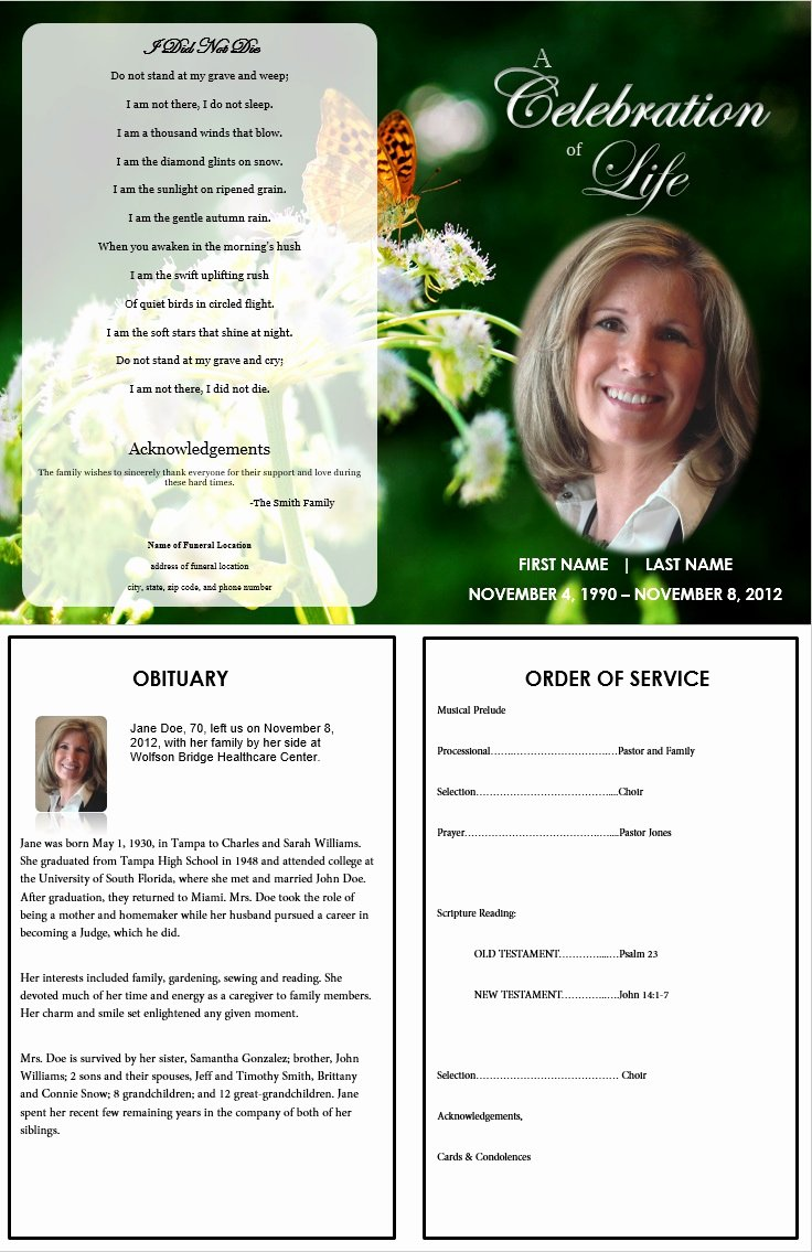 Butterfly Memorial Program Funeral Pamphlets