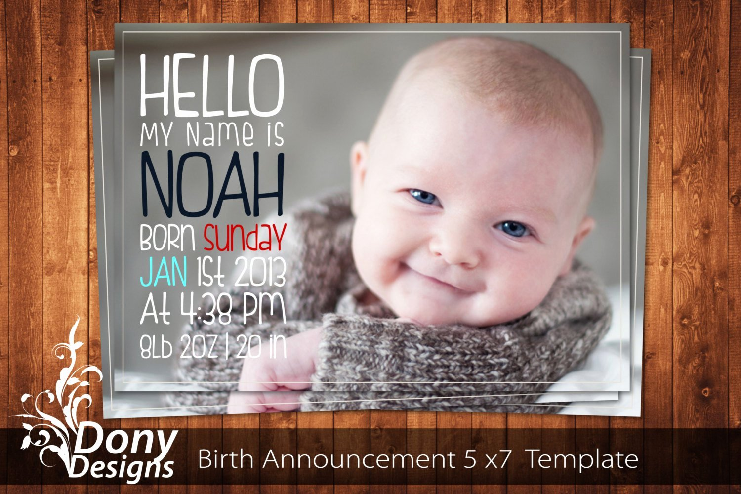 Buy 1 Get 1 Free Birth Announcement Neutral Baby