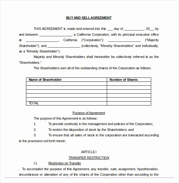 Buy Sale Agreement Template – 10 Free Word Pdf Document