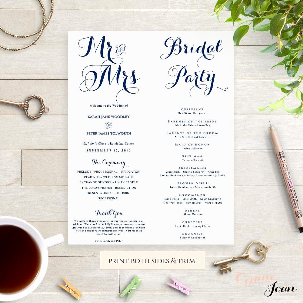 Byron Printable Wedding order Of Service Template Connie