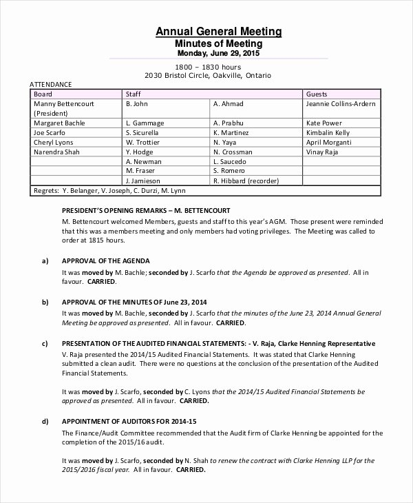 C Corp Annual Meeting Minutes Template Templates