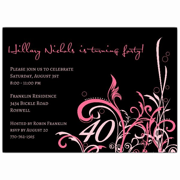 Cabiri Pink 40th Birthday Invitations