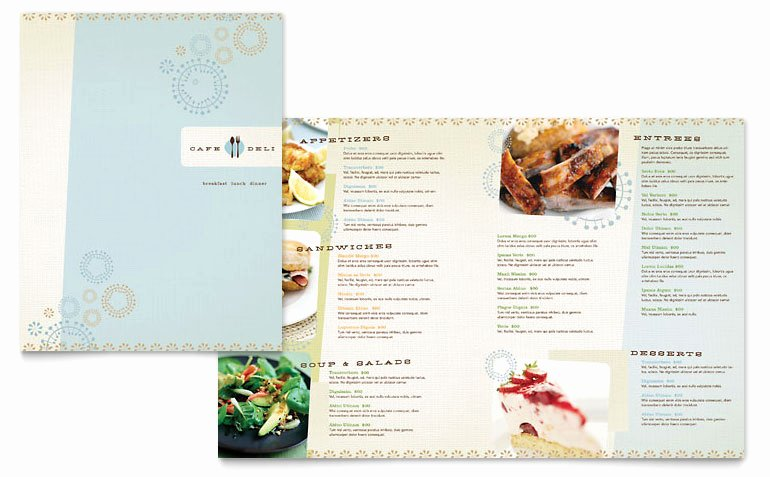 Cafe Deli Menu Template Word & Publisher