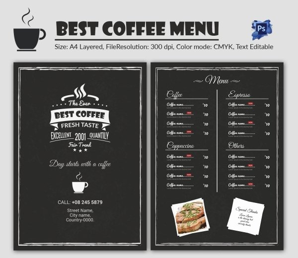 Cafe Menu Template 40 Free Word Pdf Psd Eps