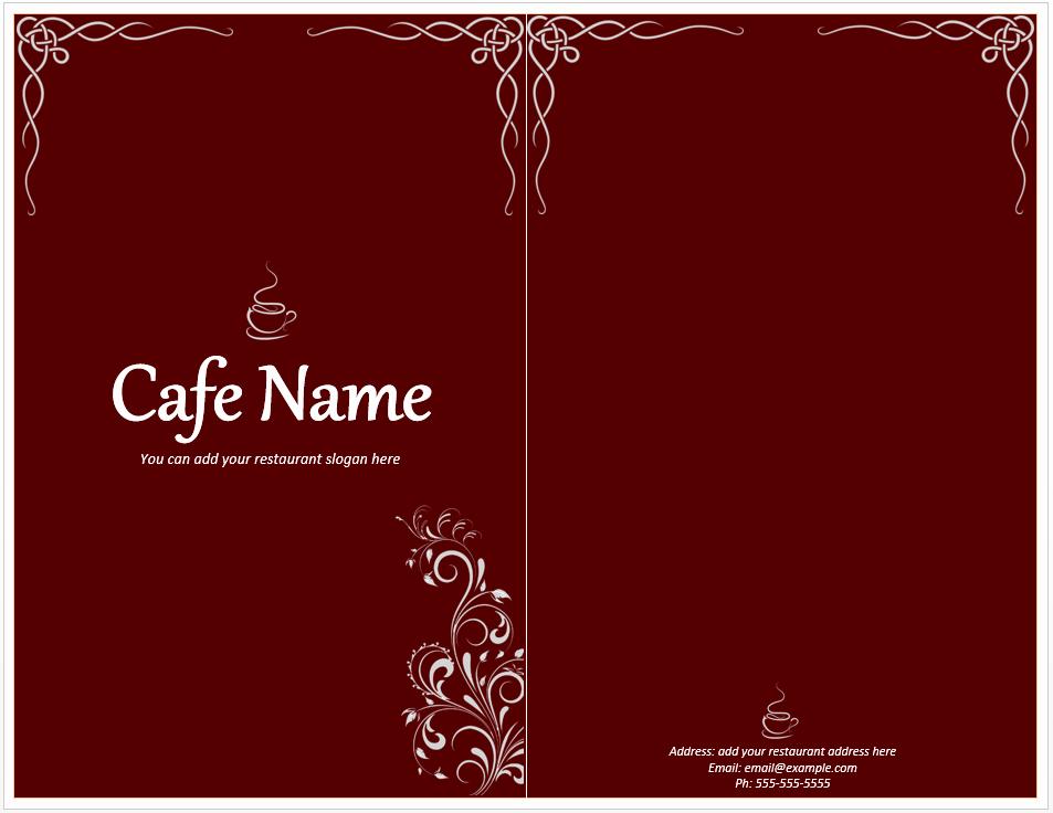 Cafe Menu Template Free Template Downloads