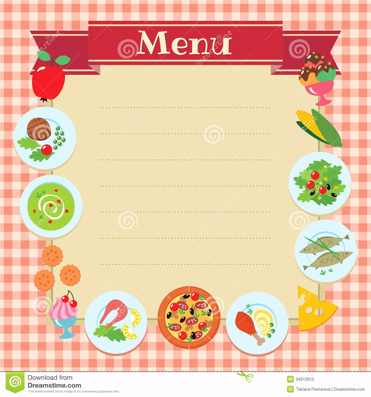 Cafe Restaurant Menu Template Stock Vector