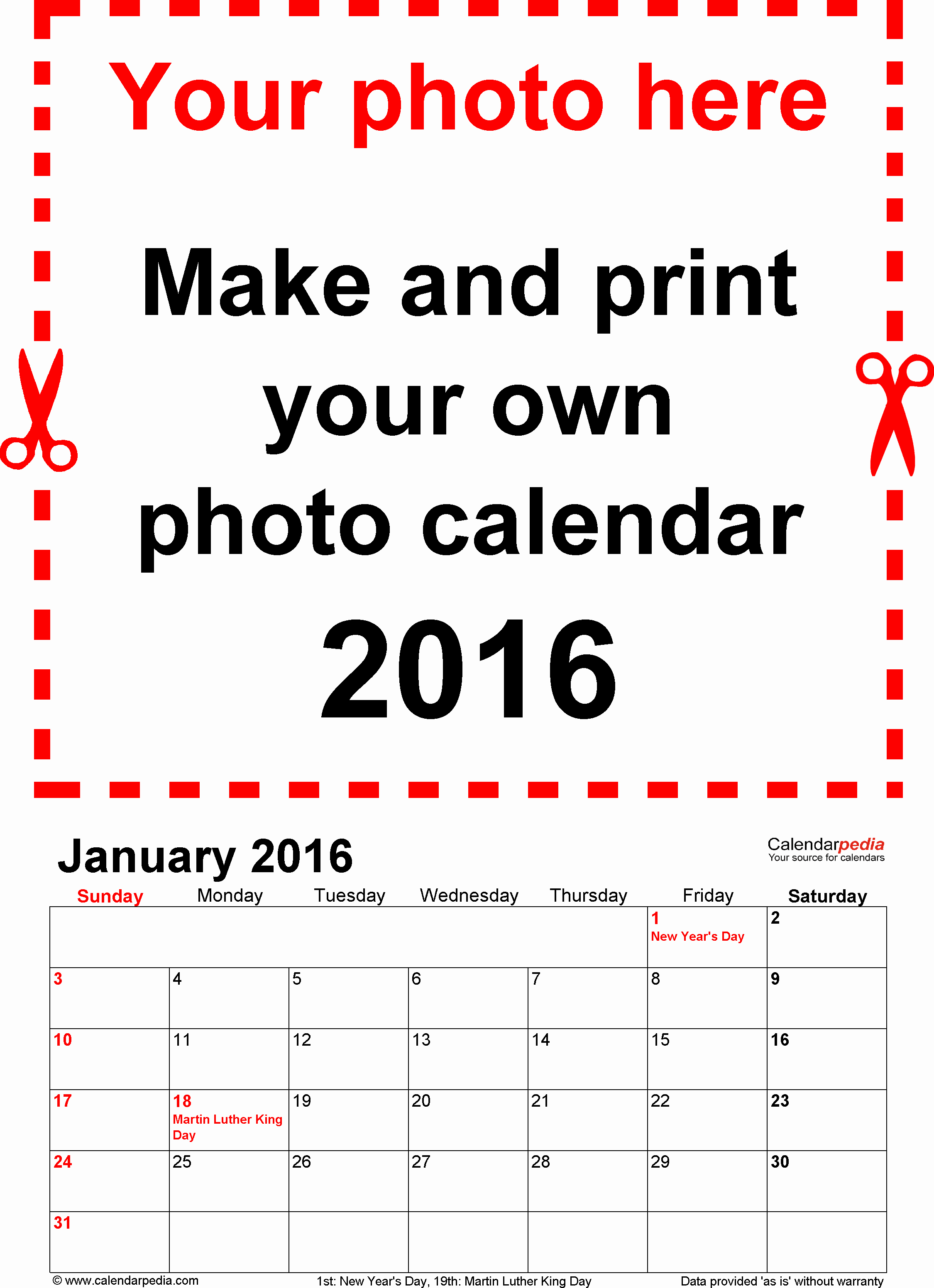 Calendar 2016 Free Printable Word Templates