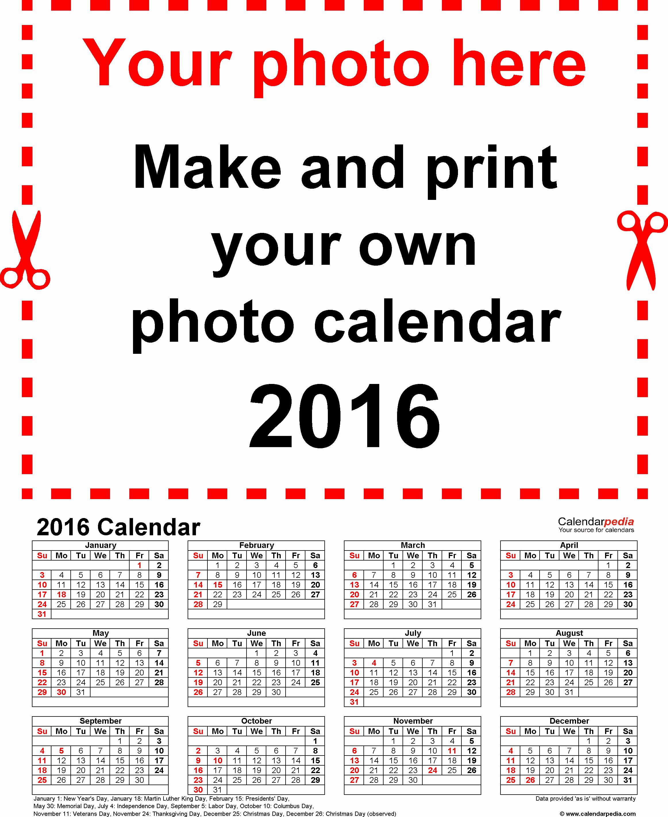 Calendar 2016 Free Printable Word Templates