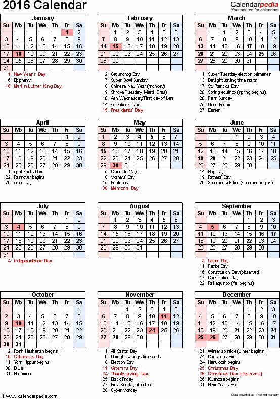 Calendar 2016 Pocket Size Printable