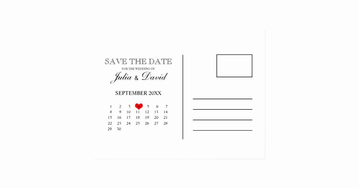 Calendar Save the Date Postcard Template