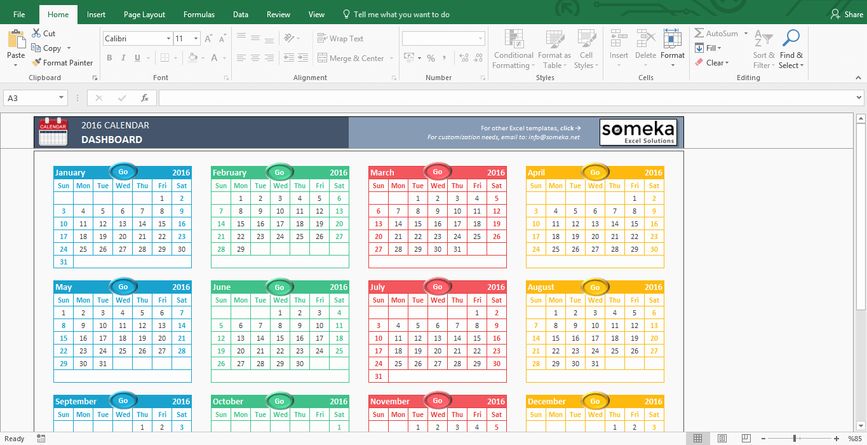Calendar Template 2016 2018