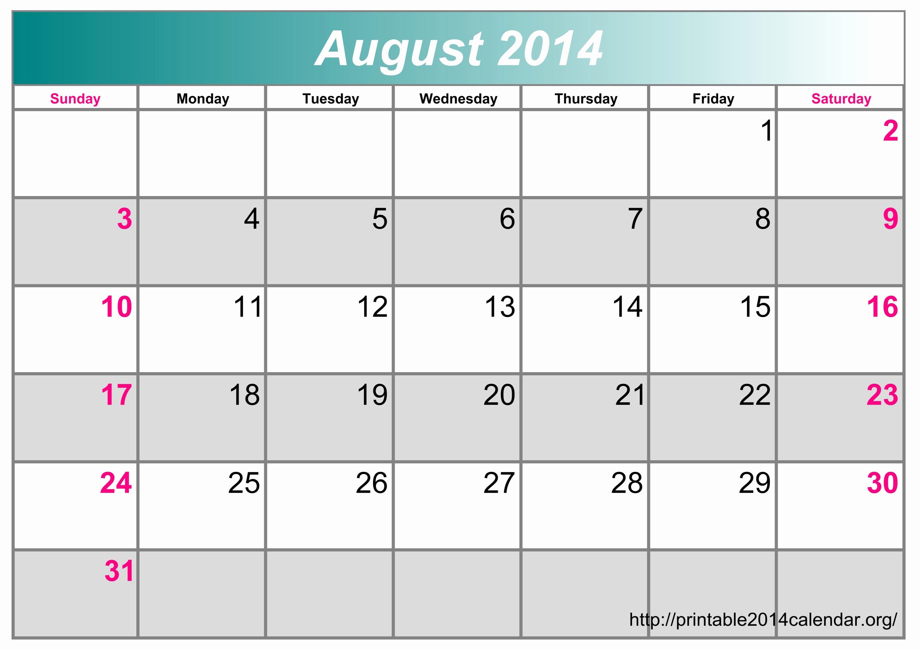 calendar template excel 2014