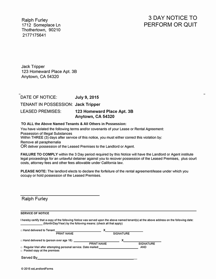 California 3 Day Notice to Perform or Quit