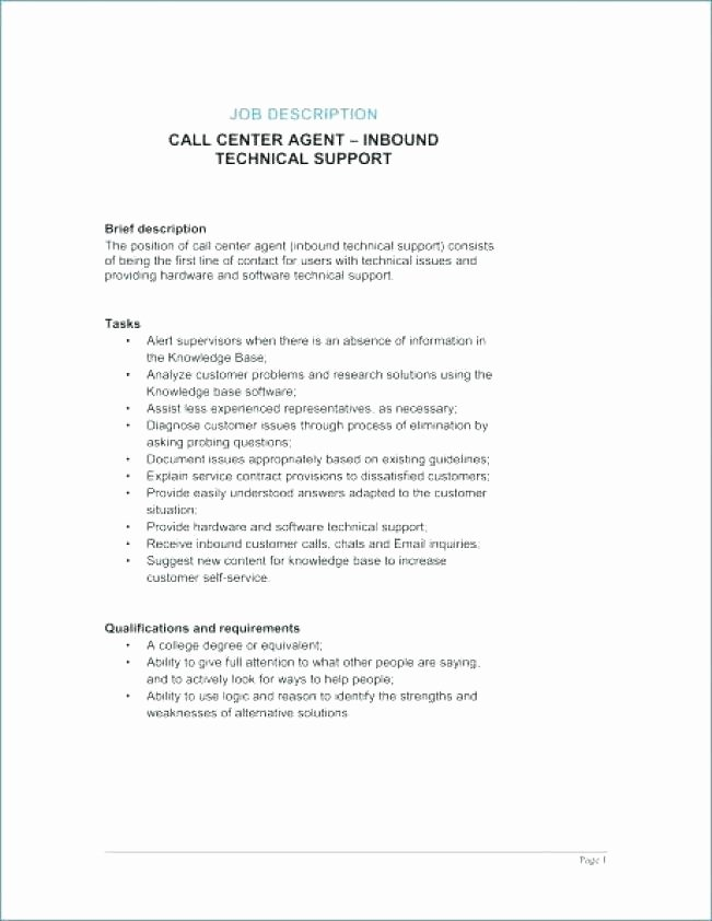Call Center Agent Job Description – Resume Pro