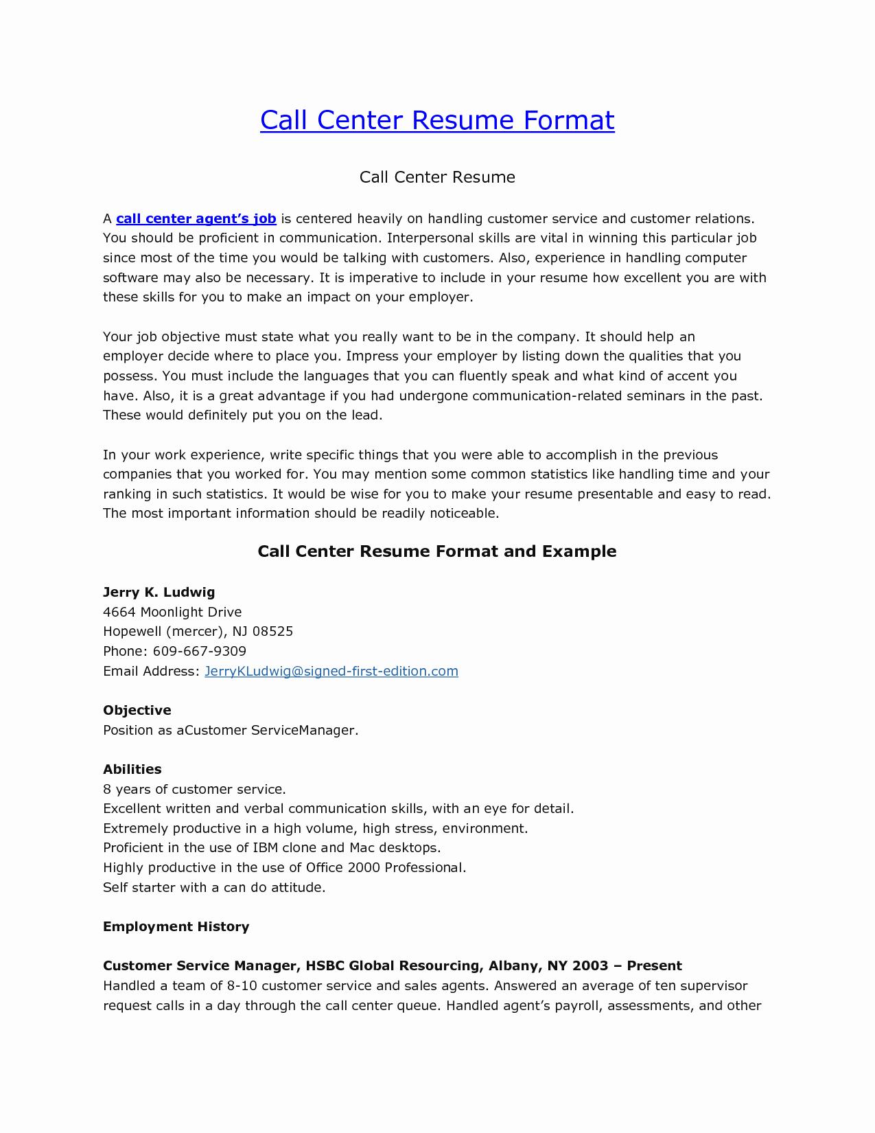 Call Center Customer Service Job Description Resume