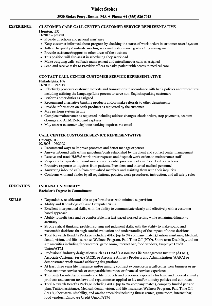 Call Center Customer Service Representative Resume Samples