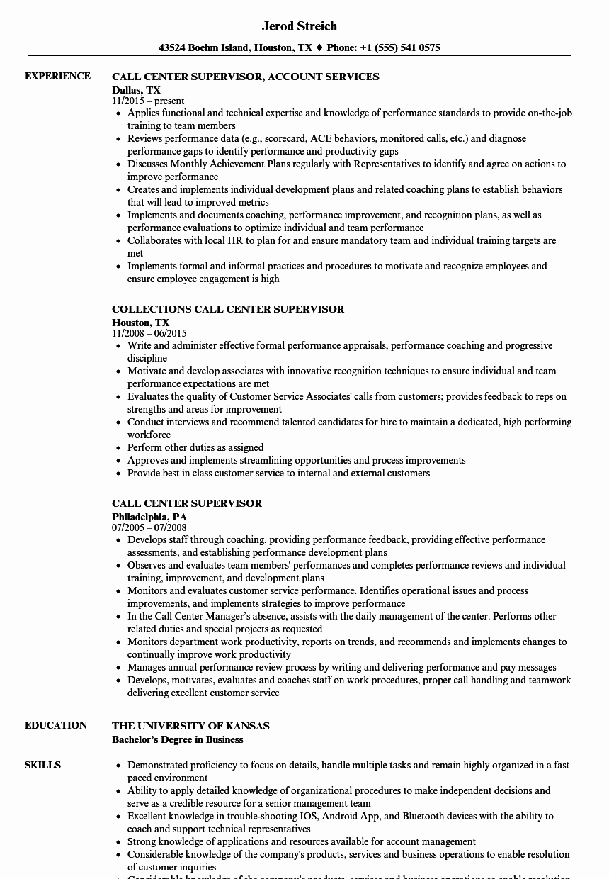 Call Center Supervisor Resume Talktomartyb
