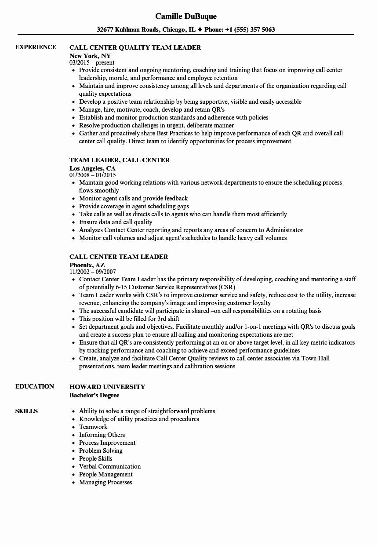 Call Center Team Leader Resume Samples