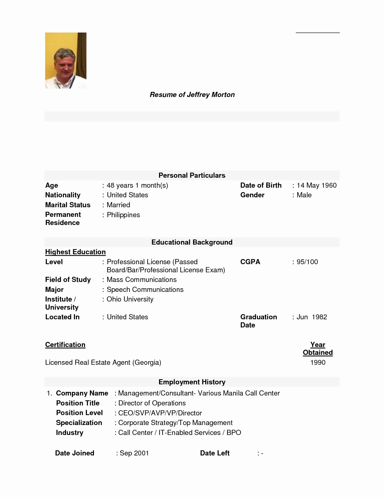 Call Centre Resume Sample Free Center Agent No Work