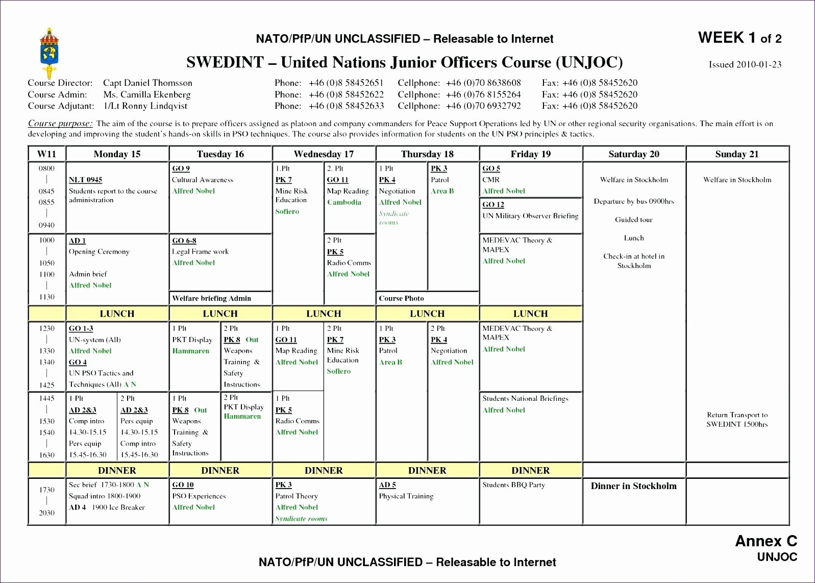 Call Schedule Template