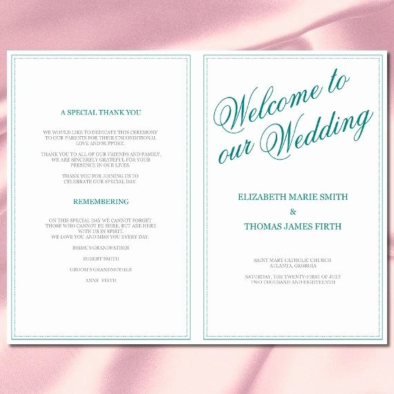 Calligraphy Wedding Program Template Teal Silver Half Fold