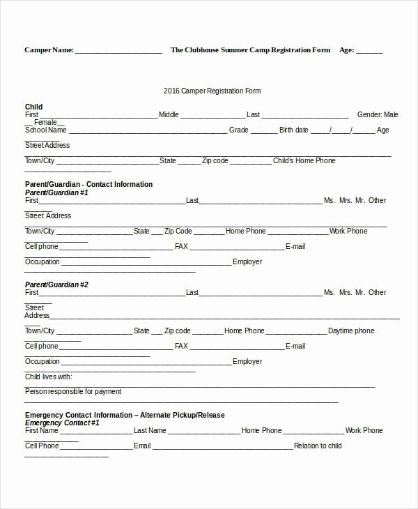 Camp Registration form Template Invitation Template
