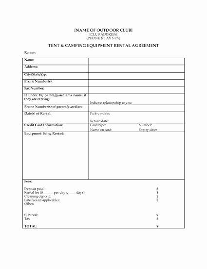Camping Equipment Rental Agreement