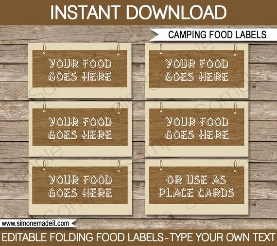 Camping Food Labels Buffet Tags Tent Cards Party