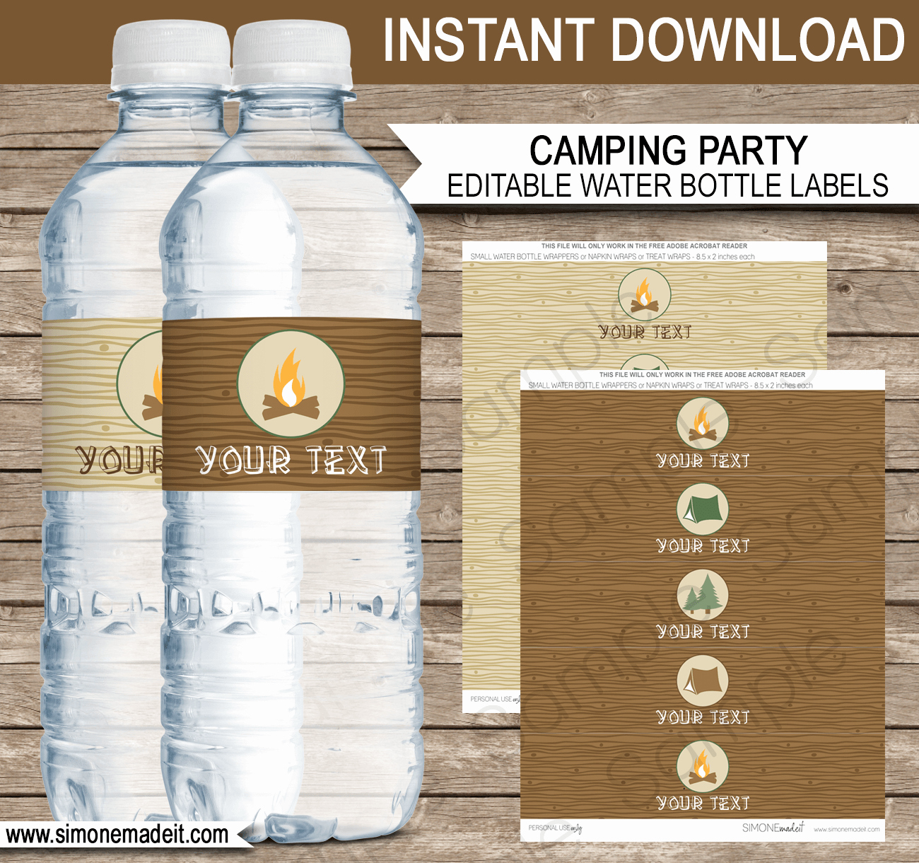 Camping Party Water Bottle Labels