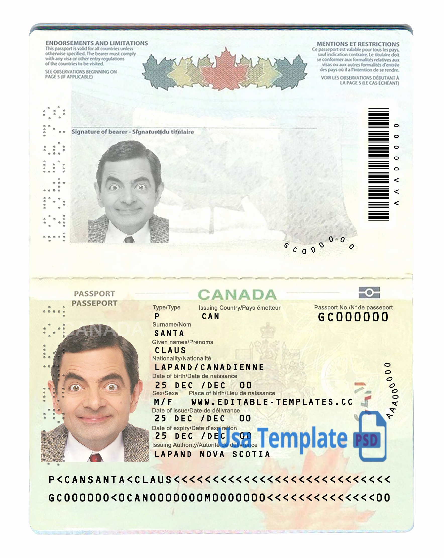 Canada Passport Psd Template Usa Template Psd