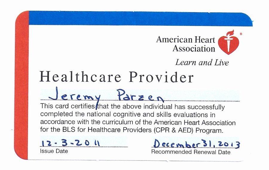 Canadian Heart association Certification Cards to