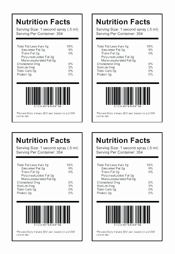 Candy Bar Wrapper Template Blank Nutrition Label Facts